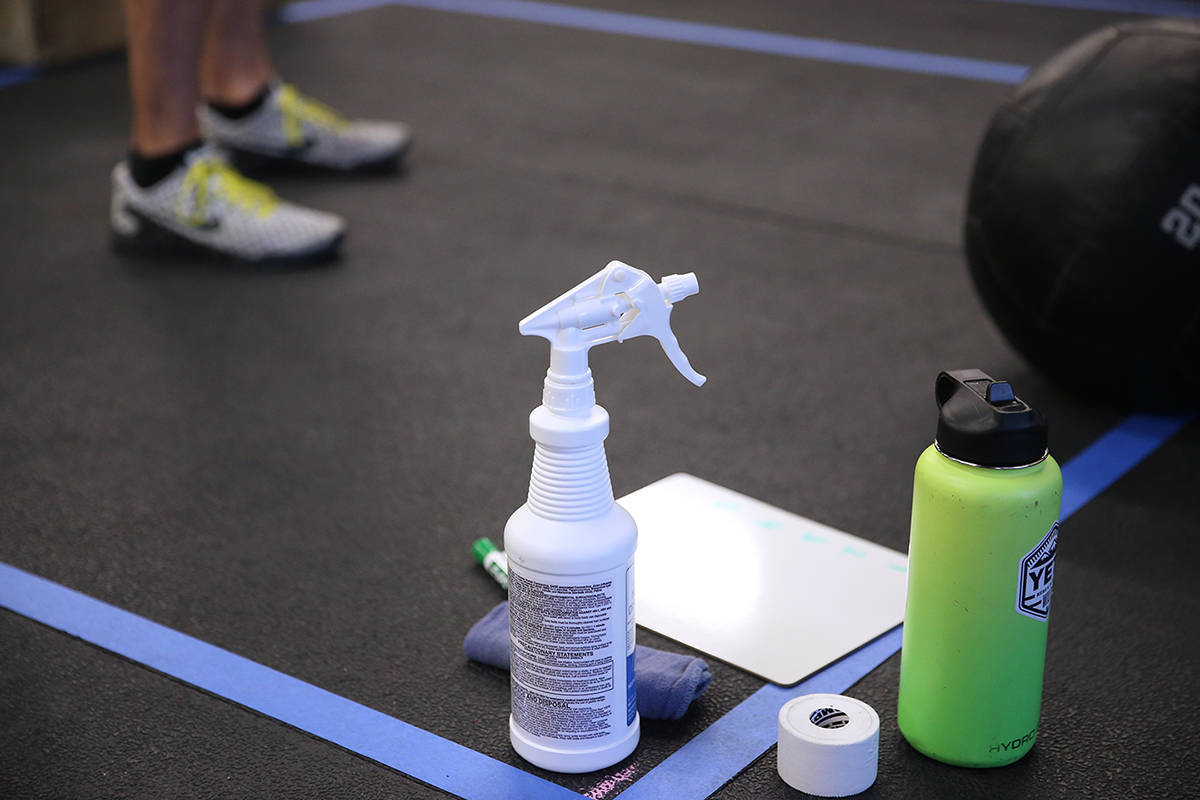 Cleaning spray in one of the workout stations at Crossfit Apollo in Las Vegas, Friday, May 29, ...