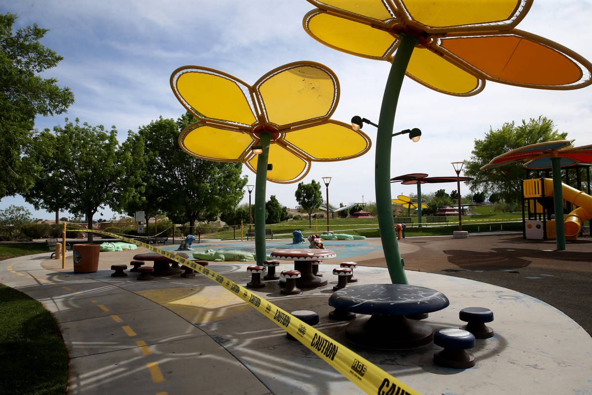 The closed splash pad at Centennial Hills Park in Las Vegas Wednesday, April 29, 2020. All of t ...