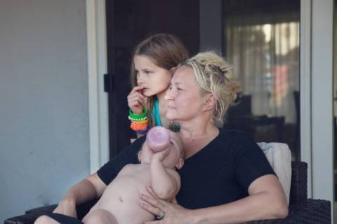 Kim Foster with daughter Edie and baby Desi. (Kim Foster)