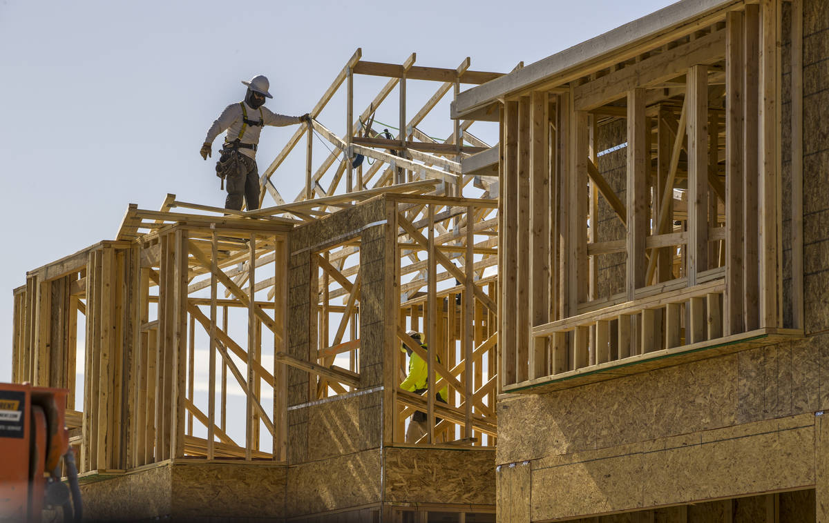 New home construction continues on the Altair Pointe community project in the northwest Las Veg ...
