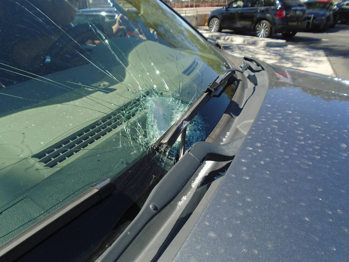 This is one of 25 vehicles damaged when rocks were thrown from an overpass on U.S. Highway 95 i ...
