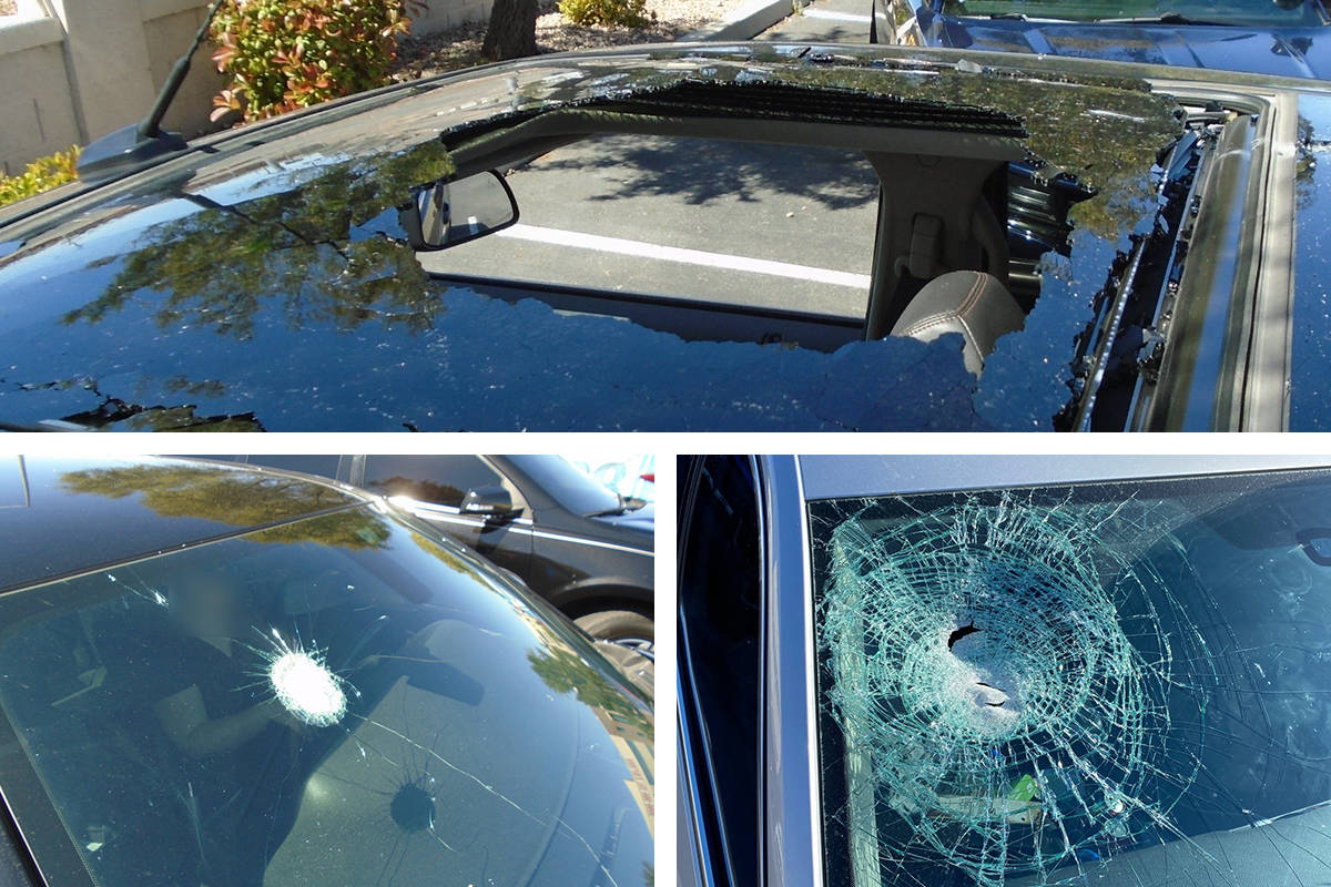 These are three of 25 vehicles damaged when rocks were thrown from an overpass on U.S. Highway ...