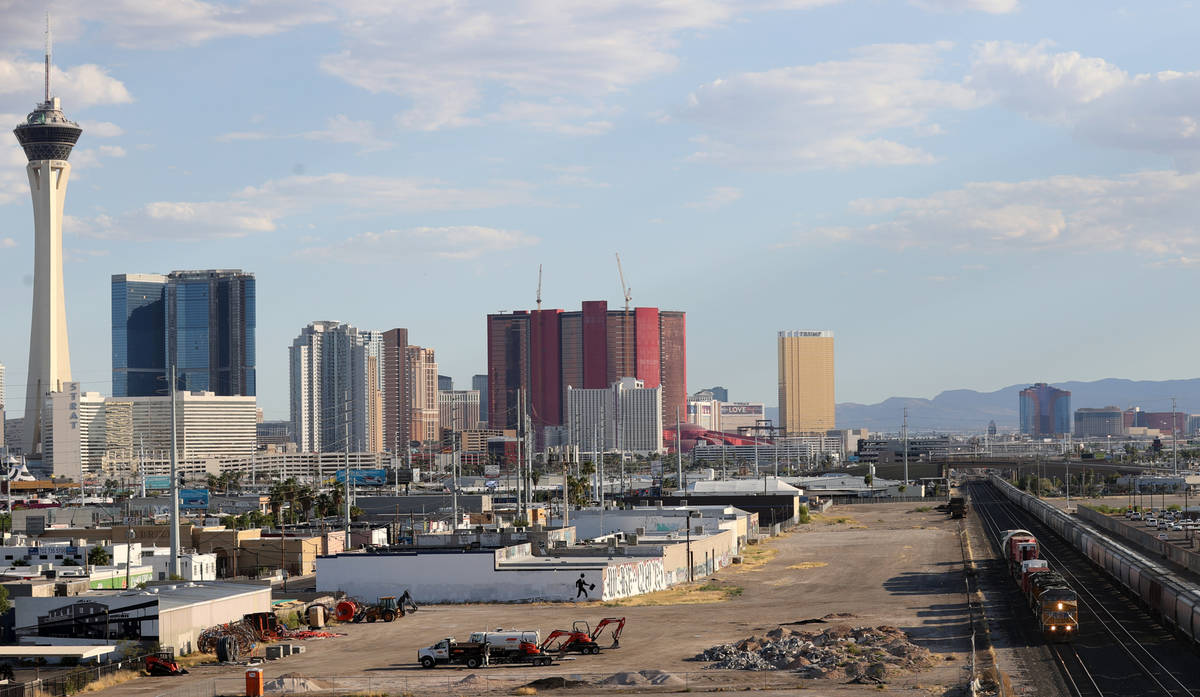 A 770-ton nuclear reactor vessel passes through downtown Las Vegas Thursday, May 28, 2020. The ...