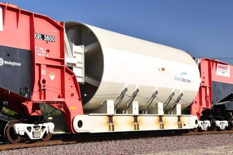 KRL 3600, the biggest train car in the world, passes near Barstow, California, on Monday, May 2 ...