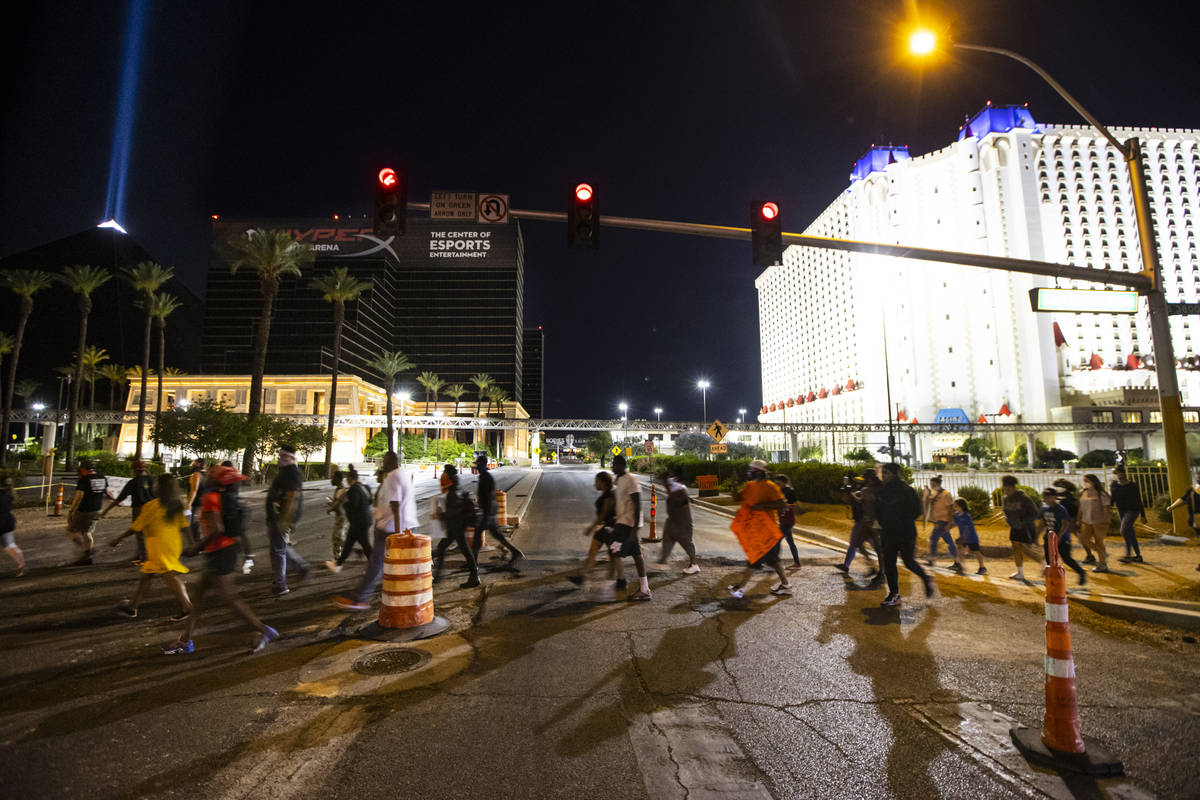 Demonstrators march to demand justice for George Floyd along the Las Vegas Strip on Thursday, M ...