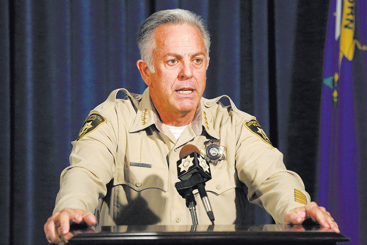 Clark County Sheriff Joe Lombardo answers questions during a news conference at Las Vegas Metro ...