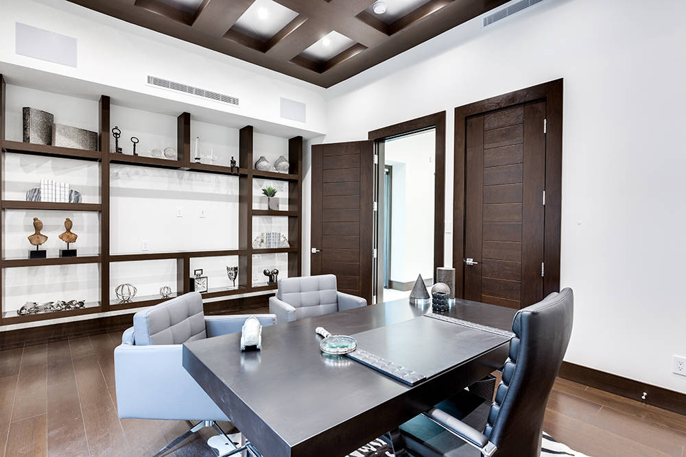 This luxury Summerlin home features a large home office. That amenity has become more important ...