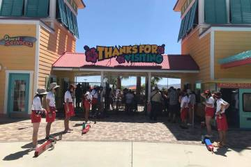 Employees await the crowd as Cowabunga Bay sets to open its doors on Friday, May 29, 2020. (Bla ...