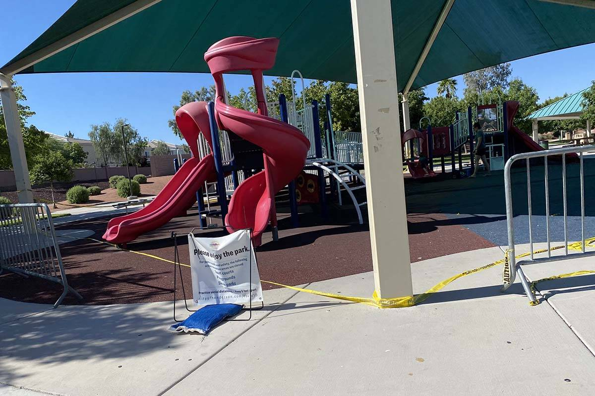 Paseo Vista Park in Henderson is open, but playground equipment remains off limits. (Mick Akers ...