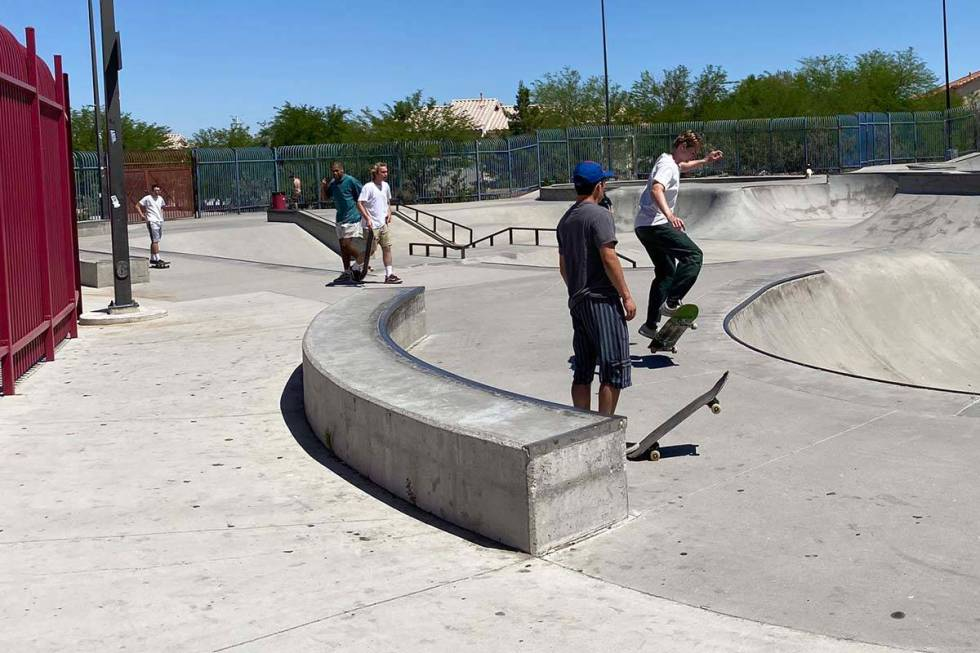 About two dozen people of all ages take advantage of Anthem Hills skatepark, which reopened on ...