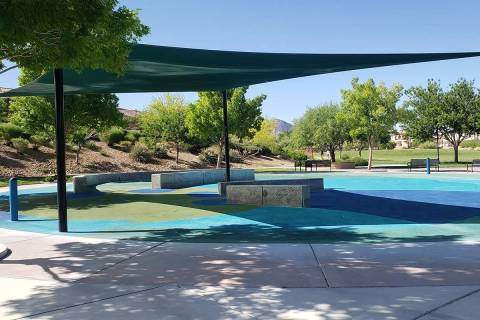 A splash pad in Paseos Park is seen, Friday, May 29, 2020, in Summerlin. (Aleksandra Appleton/L ...