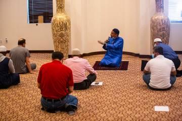 Imam Shamsuddin Waheed gives the sermon during jummah, Friday prayer, at Masjid Ibrahim in Las ...