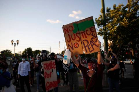Demonstrators gather Thursday, May 28, 2020, in St. Paul, Minn. Protests over the death of Geor ...