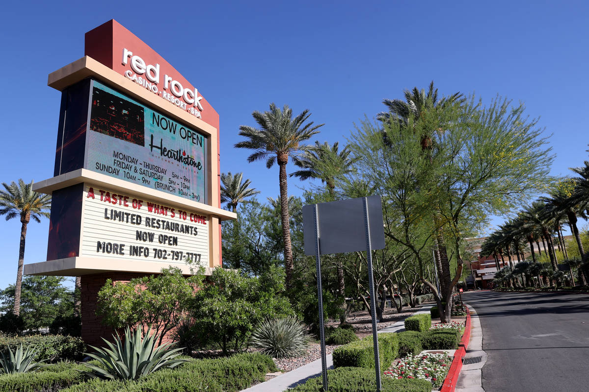 Red Rock Resort in Las Vegas Tuesday, May 26, 2020. Station Casinos is extending regular pay an ...