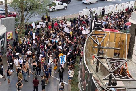 Protesters with Black Lives Matter stop at Fashion Show mall during their march on the Las Vega ...