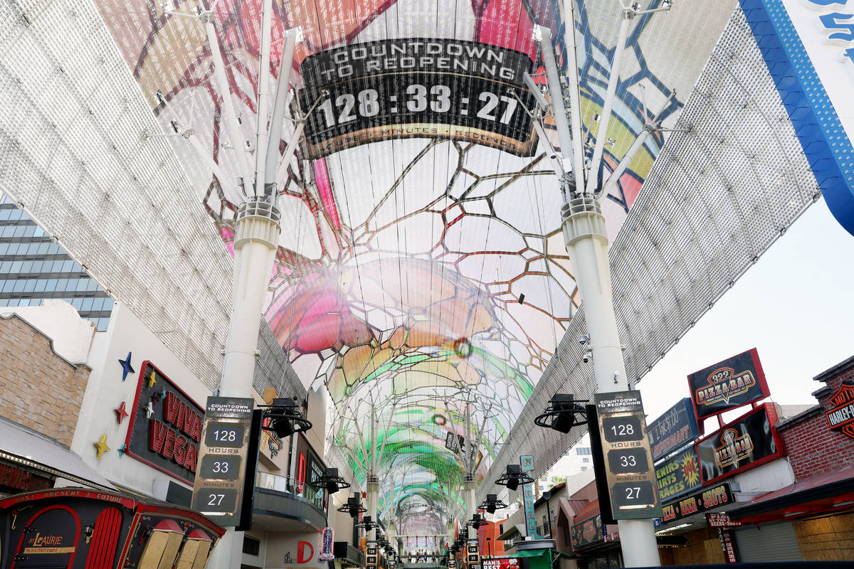 A countdown is seen on Friday afternoon, May 29, 2020, for the reopening of the Fremont Street ...