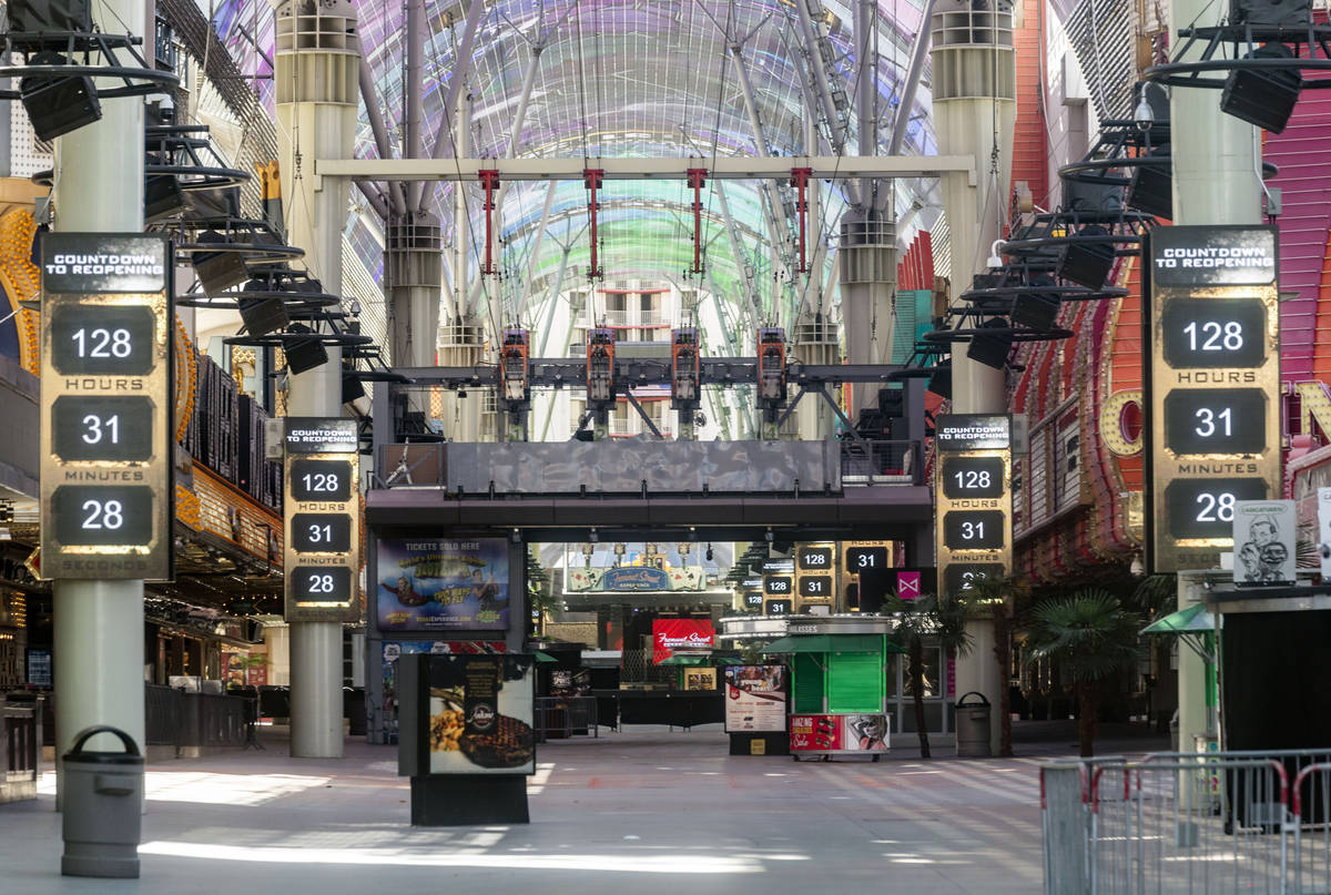 Signs countdown on Friday afternoon, May 29, 2020, for the reopening of the Fremont Street Expe ...