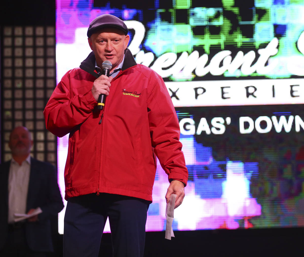 Patrick Hughes, CEO and president of the Fremont Street Experience, speaks before a preview of ...