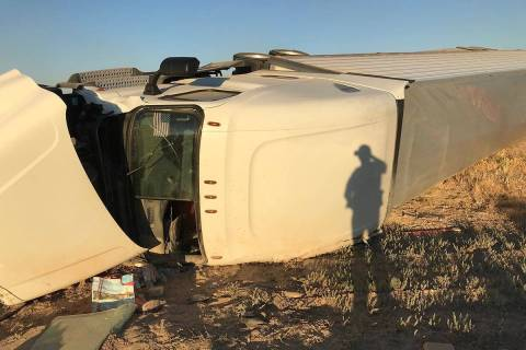 The driver was injured in a tractor-trailer rollover about 7:10 a.m., Friday, May 29, 2020, whe ...