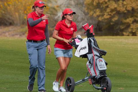 Amy Bush-Herzer (left) is in the midst of her seventh season as the UNLV women's golf coach. (U ...