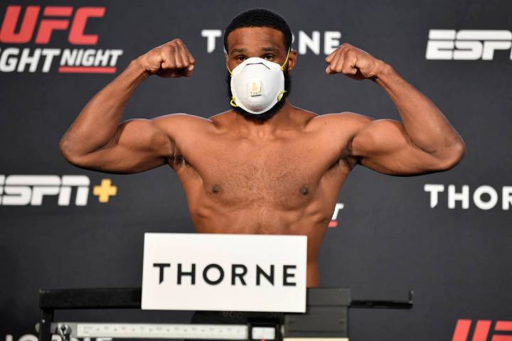 Tyron Woodley poses on the scale during the UFC weigh-in at UFC APEX on May 29, 2020 in Las Veg ...