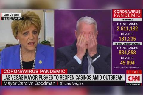 Anderson Cooper reacts during an interview with Las Vegas Mayor Carolyn Goodman during an inter ...