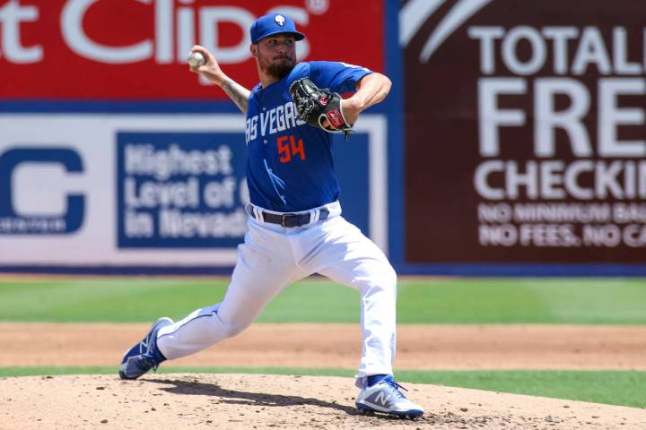 51s pitcher Andrew Church on the mound against the Tacoma Rainiers at Cashman Field in Las Vega ...