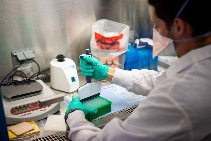 Scientists at the Nevada State Public Health Laboratory at UNR's School of Medicine collect cri ...