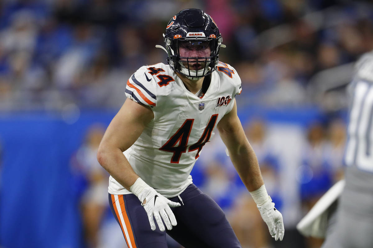 Chicago Bears inside linebacker Nick Kwiatkoski plays against the Detroit Lions during an NFL f ...
