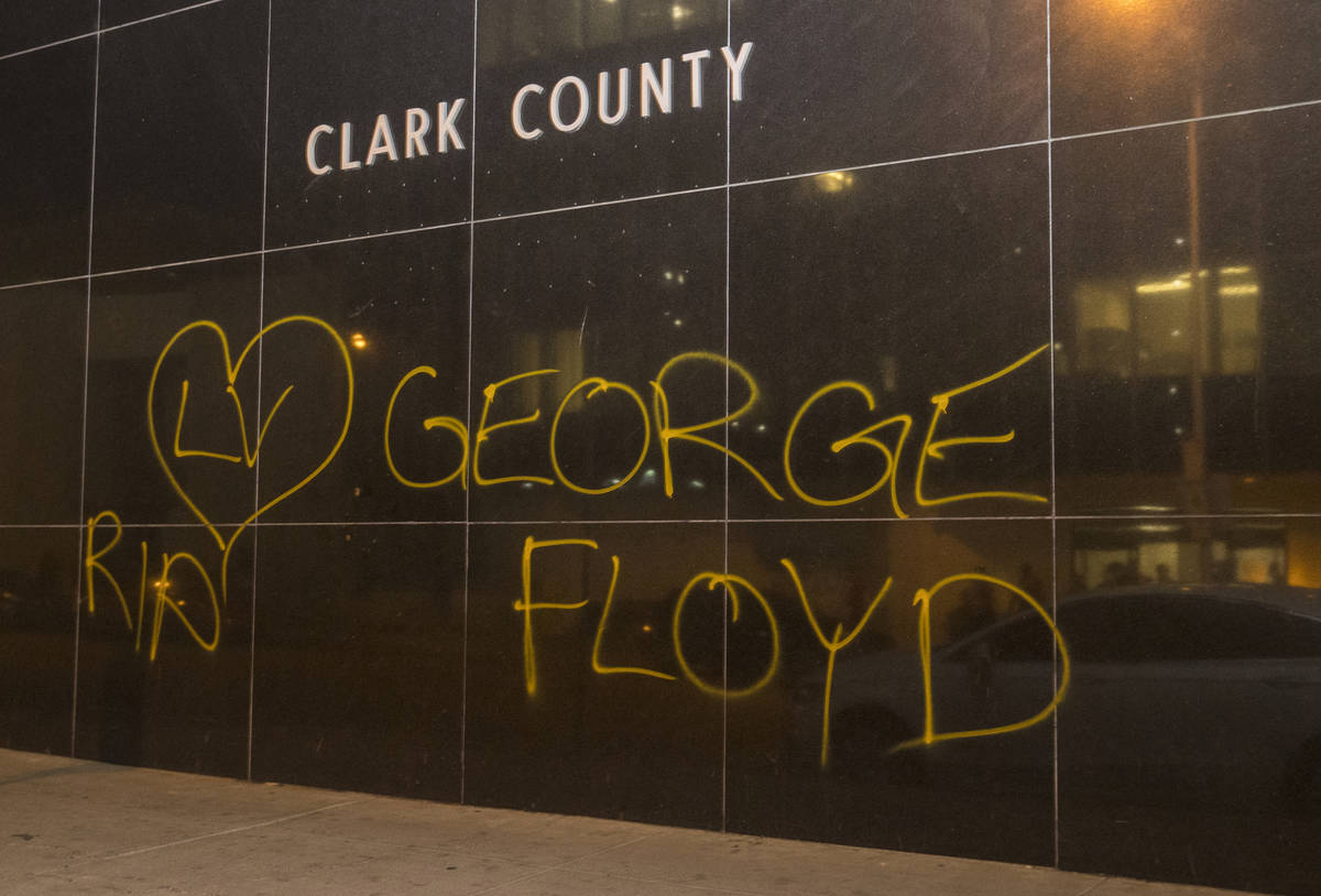 A Clark County Building is tagged as conflicts erupted with police during a Black Lives Matter ...