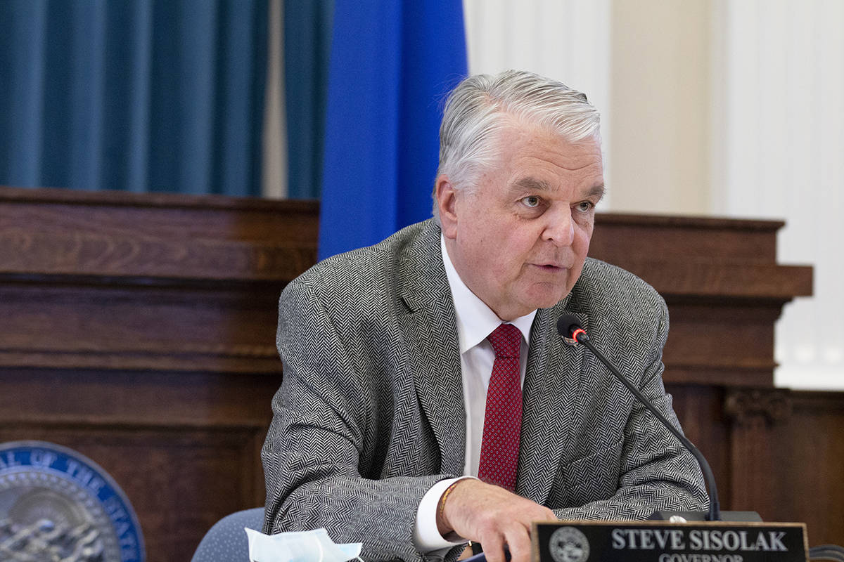 FILE--Gov. Steve Sisolak speaks during a press conference to update Nevada citizens about the c ...