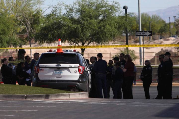 Police investigate an officer-involved shooting Sunday, May 31, 2020, near West Tropicana Avenu ...