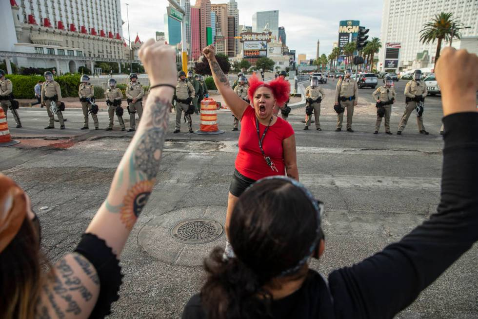 Makkah Fields pumps up the crowd during a Black Lives Matter protest along the Las Vegas Strip ...
