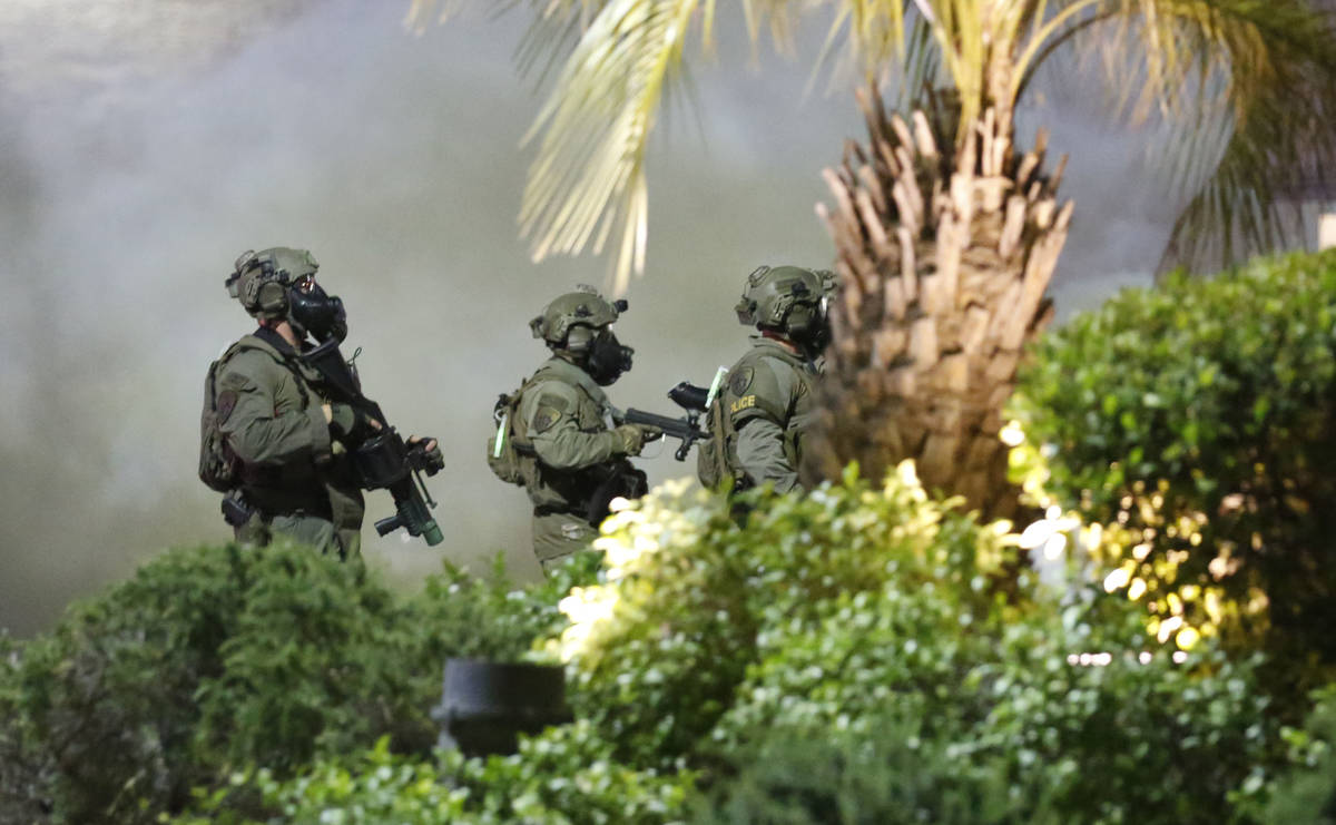 SWAT team is seen on the Las Vegas Strip, Sunday, May, 31, 2020, during a protest over the deat ...