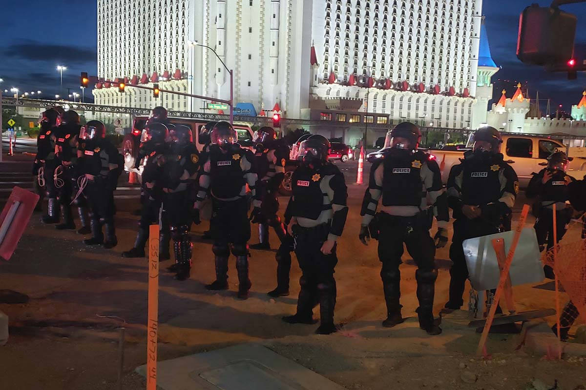SWAT teams moved the Black Lives Matter protesters north on the Las Vegas Strip, Sunday, May 31 ...