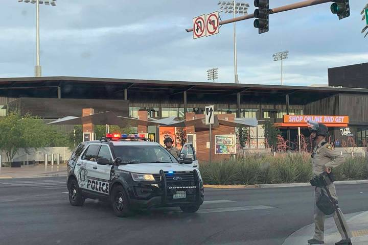 Las Vegas police block entrances to Downtown Summerlin, Sunday, May 31, 2020. Black Lives Matte ...