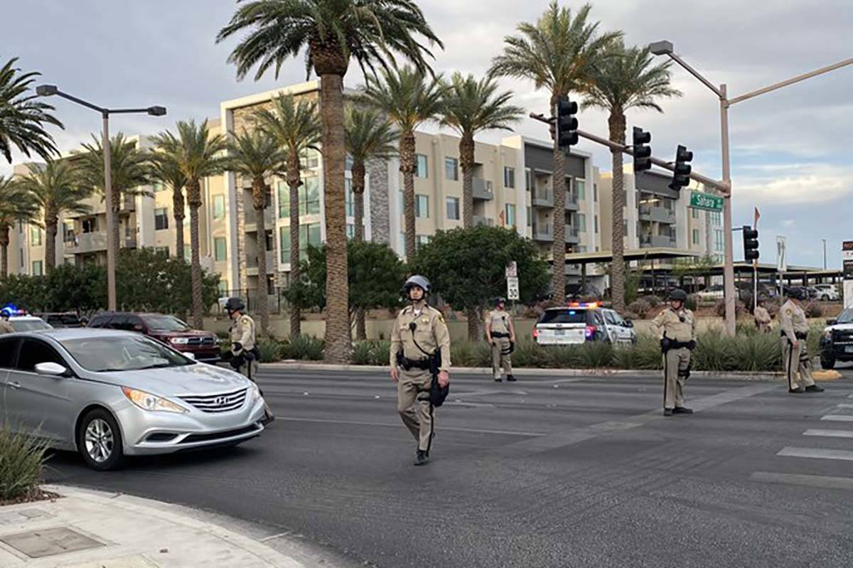 Las Vegas police block entrances at Downtown Summerlin, Sunday, May 31, 2020. Black Lives Matte ...