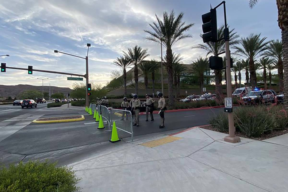 Las Vegas police at Downtown Summerlin, Sunday, May 31, 2020. Black Lives Matter protesters wer ...