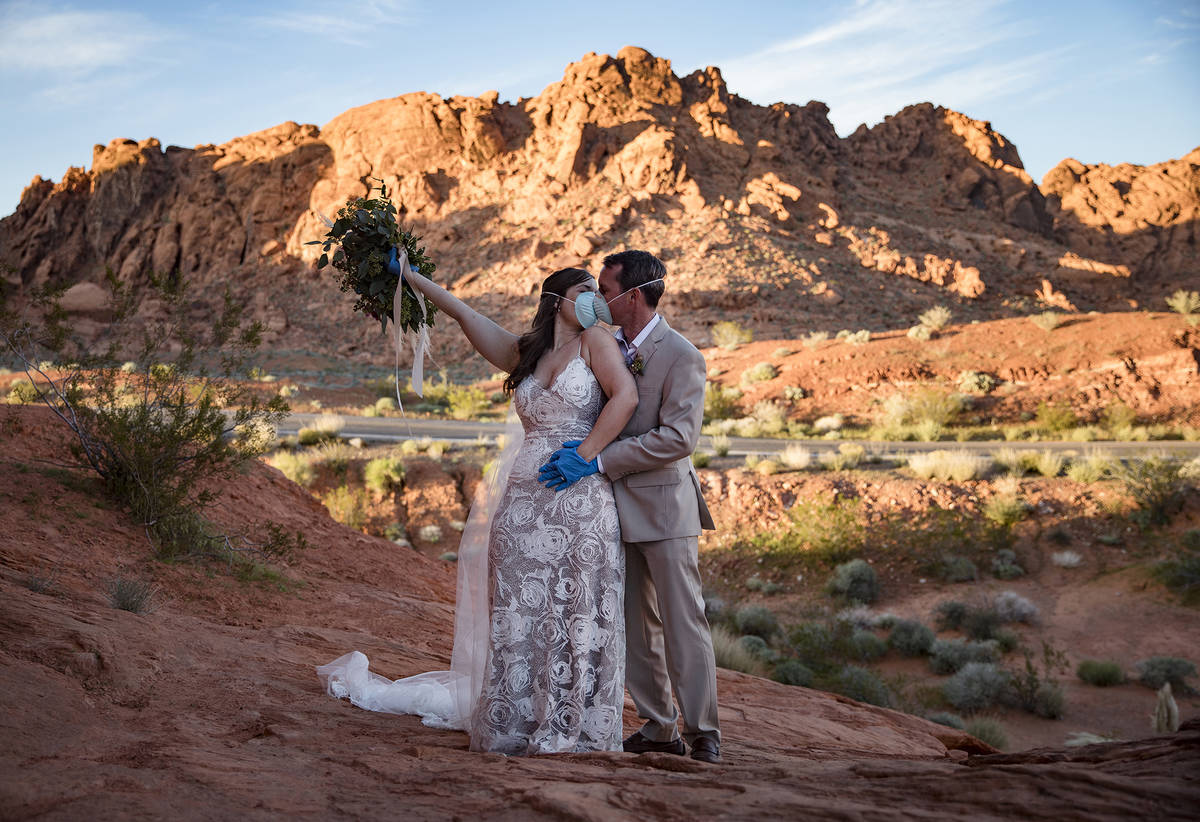 Ashley and Will Hinder pose for photos to celebrate their special day at Valley of Fire State P ...