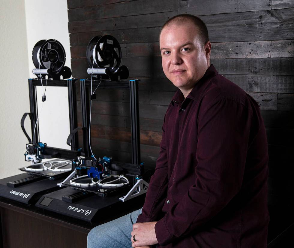 William Neal of Las Vegas used 3-D printers to make more than 1,000 masks, which he donated dur ...