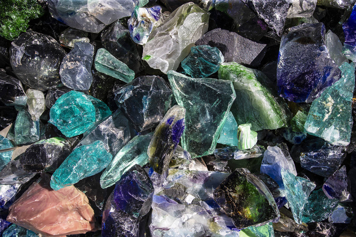Colorful sea glass shards at Cactus Joe's in Las Vegas can serve as decorative touches in conta ...