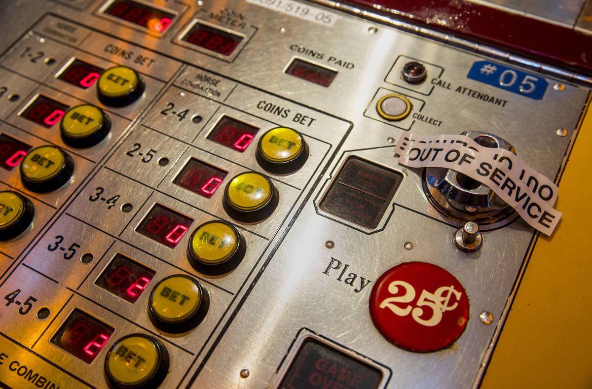 Some gaming machines at the D Las Vegas will be out of service to encourage social distancing a ...