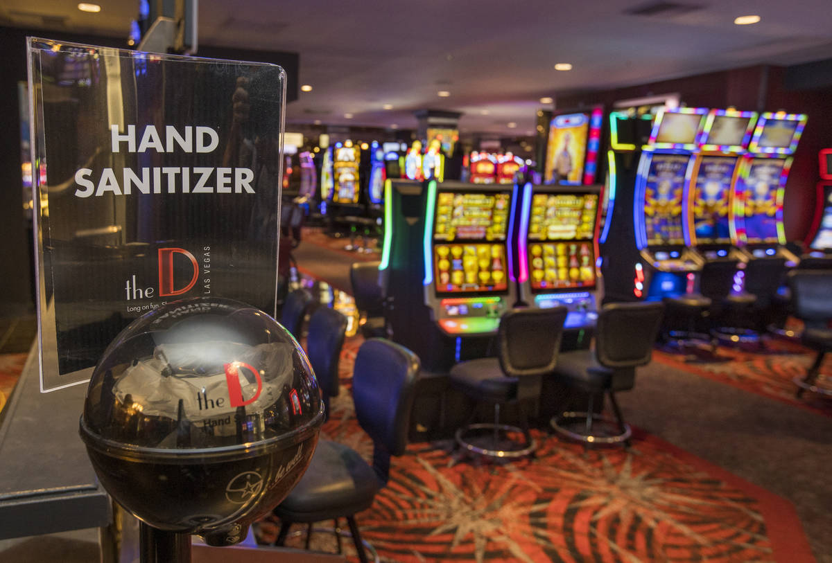 Hand sanitizer is available at the D Las Vegas as they prepare to open up again following coron ...