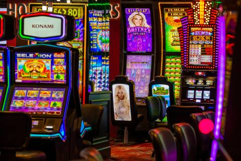 Some slot areas at the D Las Vegas will have less seating to encourage social distancing as the ...
