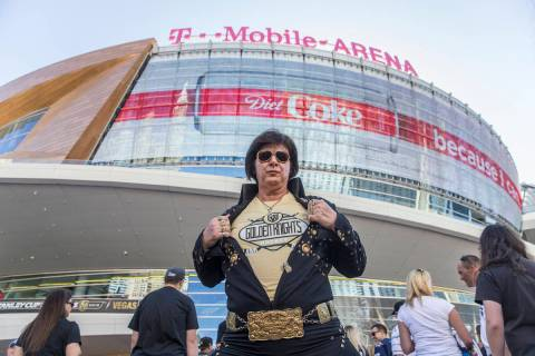 Golden Knights fan and Elvis impersonator Jeff Stanulis outside T-Mobile Arena before the start ...