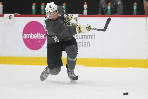 Vegas Golden Knights Connor Corcoran (85) takes a shot during development camp at City National ...