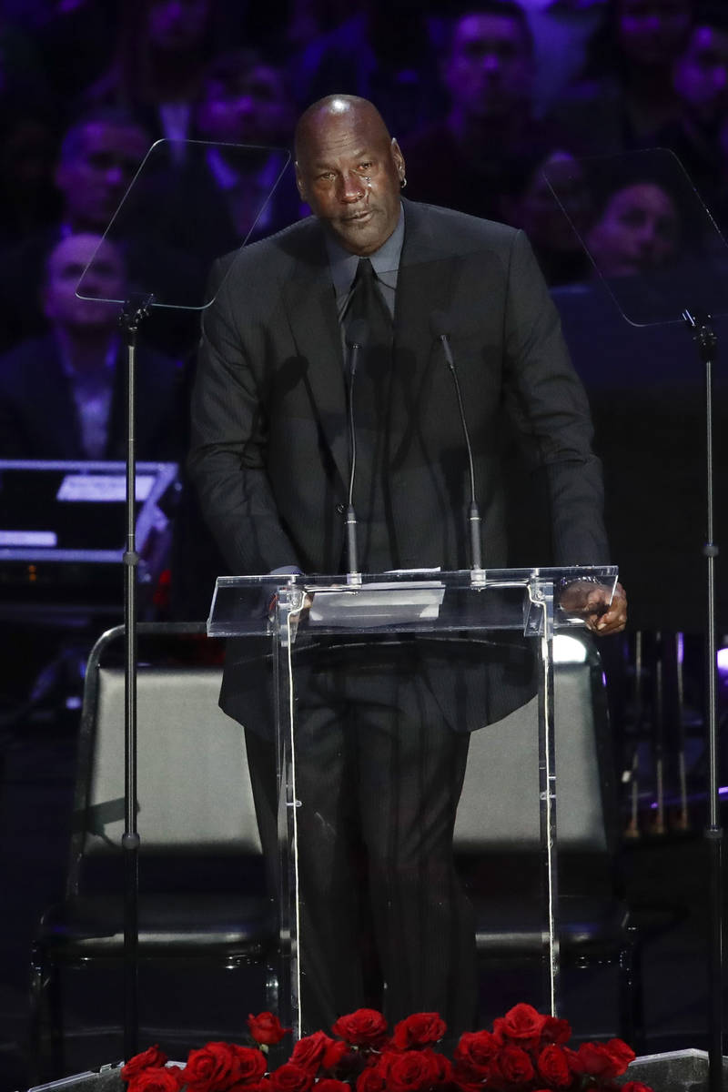 Former NBA player Michael Jordan cries while speaking during a celebration of life for Kobe Bry ...