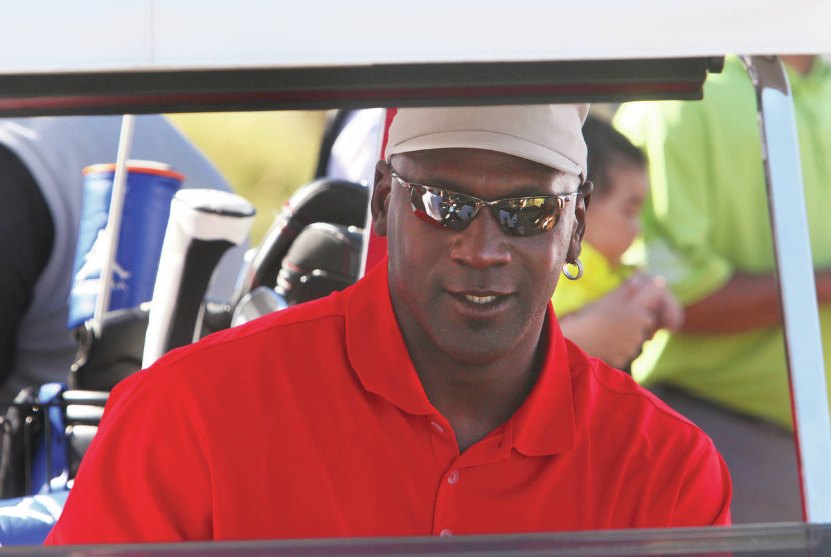 GARY THOMPSON/LAS VEGAS REVIEW-JOURNAL SPORTS Michael Jordan arrives in his golf kart at th ...