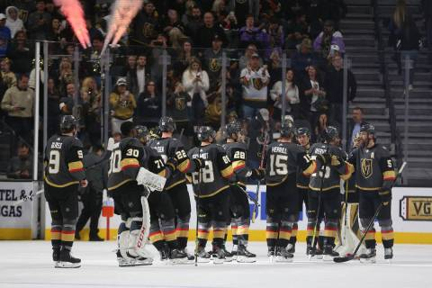 Vegas Golden Knights celebrate their win 5-2 against the Anaheim Ducks in their NHL hockey game ...