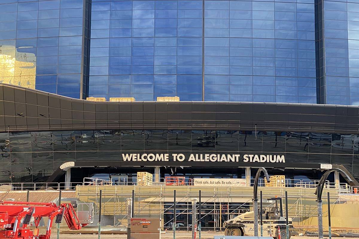A Welcome to Allegiant Stadium sign was installed over the weekend at the $2 billion project's ...